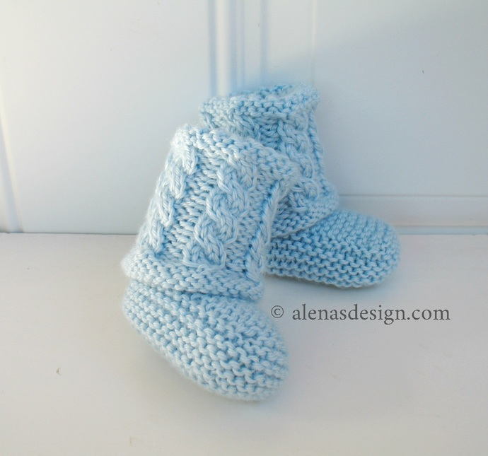 Cabled Baby Booties Knitting Pattern 231 High-Top Baby Booties Knitting Patterns