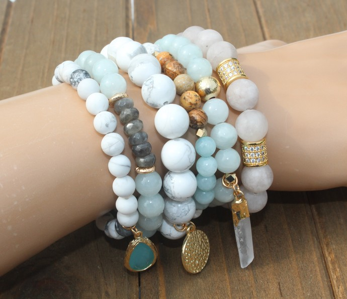 Set of Beautiful Stacking Bracelets Neutral Color Boho Glam by KnottedUp
