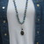 The Awakening Necklace Sodalite Long Beaded Necklace with Pendant Boho Hand Knot