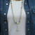 Long Beaded Necklace with Moonstone Pendant Hand Knot Boho Glam by KnottedUp