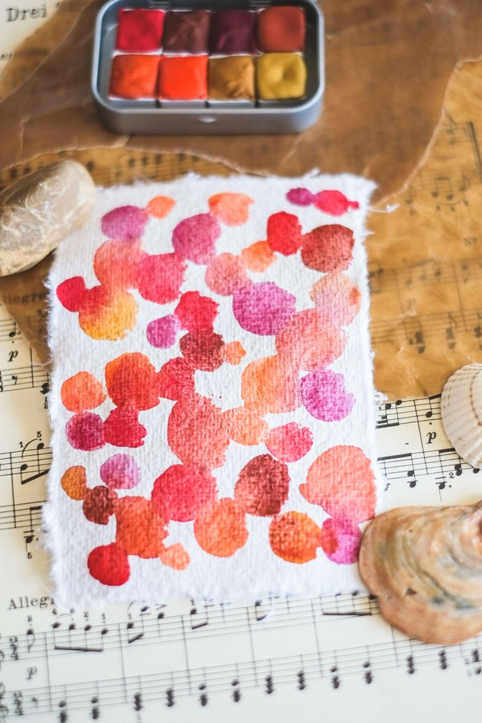 Handmade watercolour SINGLES - from the set Serene Sunset - 8 half pans of
