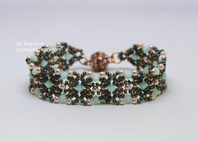 Beading Pattern, Sania Bracelet, Beading Tutorials, Bracelet Tutorial, Digital
