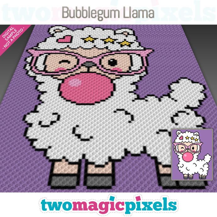 Bubblegum Llama crochet graph (C2C, Mini C2C, SC, HDC, DC, TSS), cross stitch;
