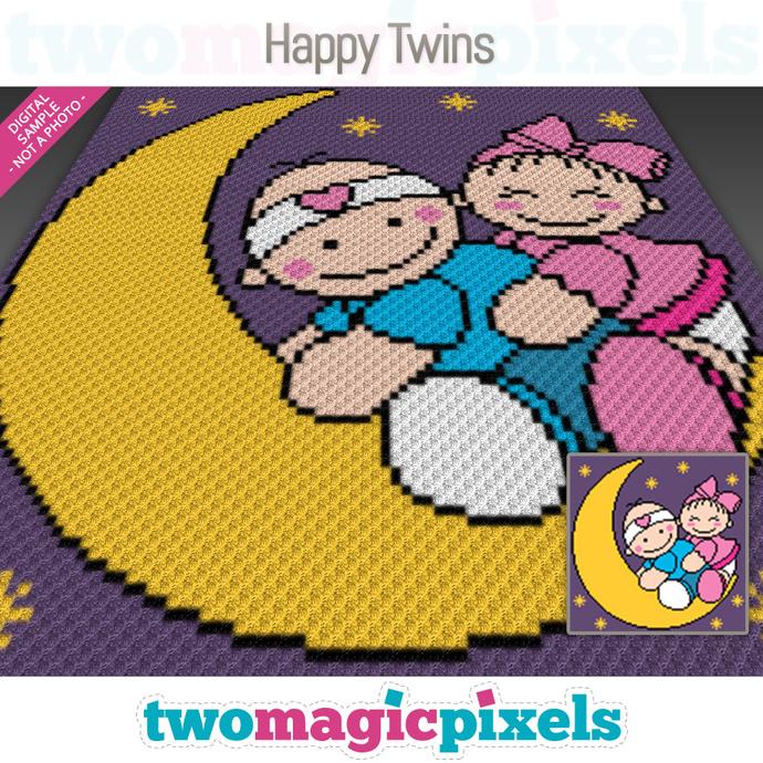 Happy Twins crochet graph (C2C, Mini C2C, SC, HDC, DC, TSS), cross stitch;