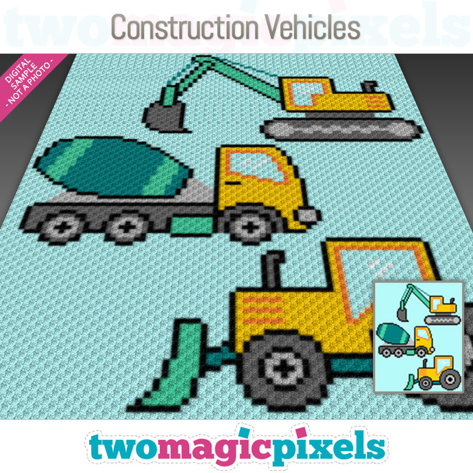 Construction Vehicles crochet graph (C2C, Mini C2C, SC, HDC, DC, TSS), cross