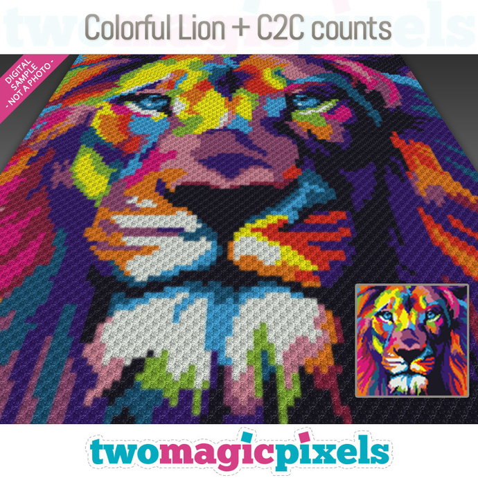 [C2C] Colorful Lion crochet graph + row-by-row counts; instant PDF download