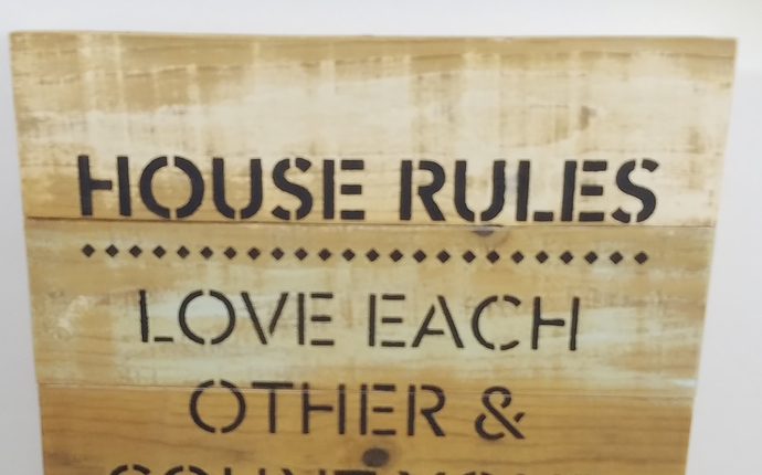House Rules, Rustic Wood Sign Made From Fence Pickets
