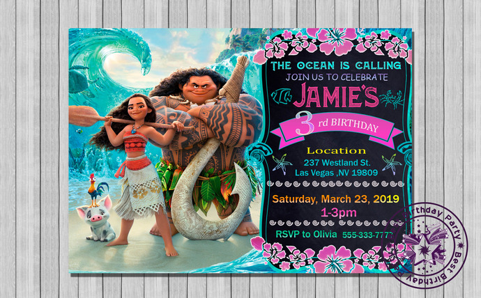 moana invitation, Moana invites, Moana birthday invites, Moana birthday