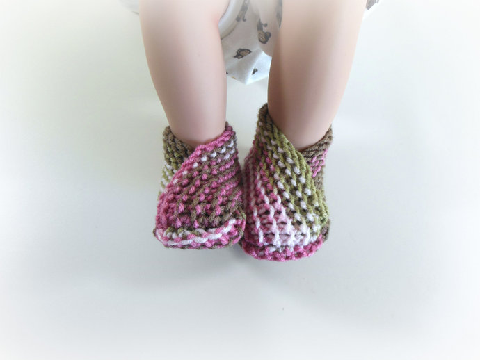 Knit Infant Booties, Slippers, Socks, Shoes in Pink Camo