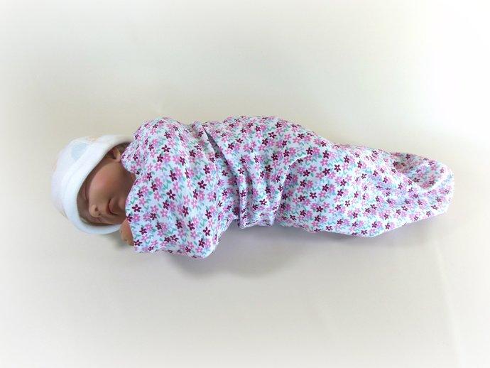 Swaddle Sack, Sleep Sack, Cocoon, Blanket, Wrap in Flowers