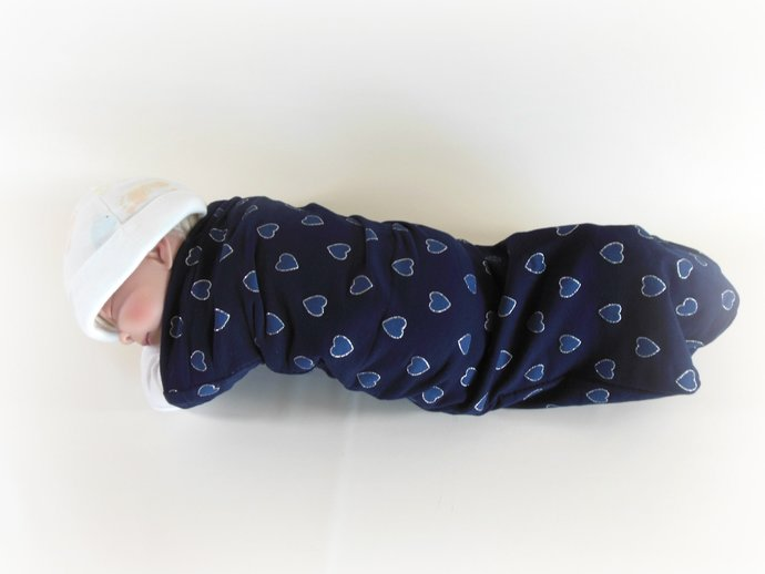 Swaddle Sack, Sleep Sack, Cocoon, Blanket, Wrap in Navy Hearts