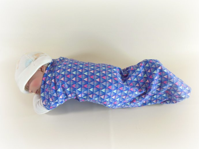 Swaddle Sack, Sleep Sack, Cocoon, Blanket, Wrap in Purple Geometric Triangles