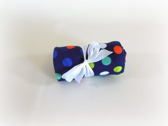 Swaddle Sack, Sleep Sack, Cocoon, Blanket, Wrap in Navy & Polka Dots