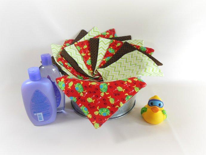 Cloth Wipes, Washcloths, Burp Cloths, Handkerchiefs in Turtles & Chevrons Set of