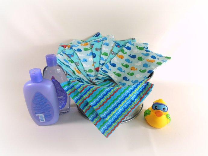 Cloth Wipes, Washcloths, Burp Cloths, Handkerchiefs in Whales Set of 12