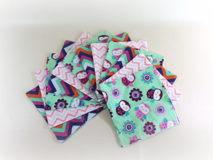 Cloth Wipes, Washcloths, Burp Cloths, Handkerchiefs in Owls & Chevrons Set of 12