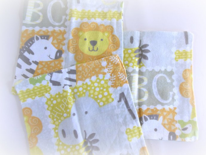 Cloth Wipes, Washcloths, Burp Cloths, Handkerchiefs Set of 12 in Zoo Animals and
