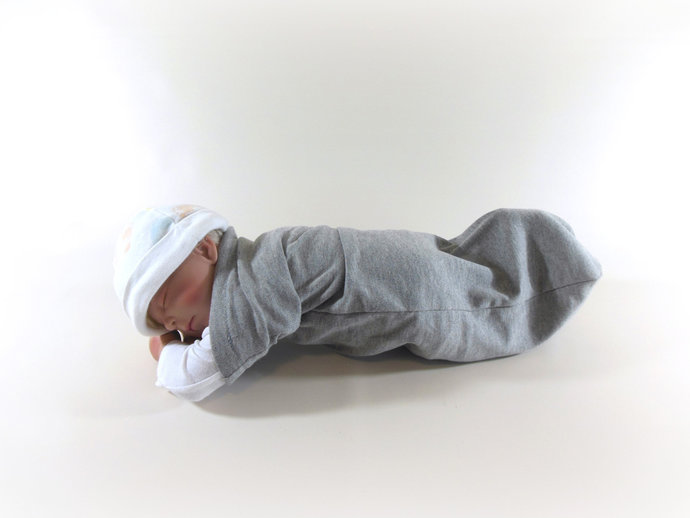 Swaddle Sack, Sleep Sack, Cocoon, Blanket, Wrap in Solid Gray