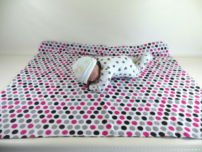 Car Seat Canopy, Car Seat Cover, Blanket, Play Mat in Chevrons and Polka Dots