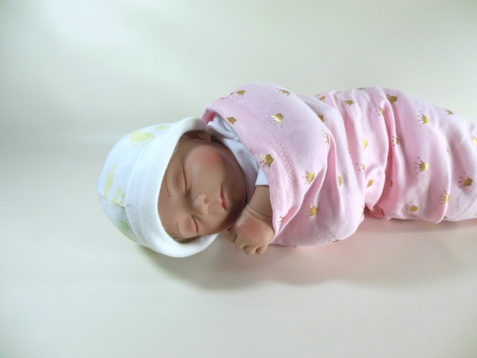 Swaddle Sack, Sleep Sack, Cocoon, Blanket in Pink and Gold Princess Crowns