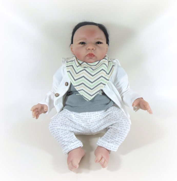 Reversible Infant Bandanna Bib, Bandanna Scarf, Drool Bib in Chevrons & Green