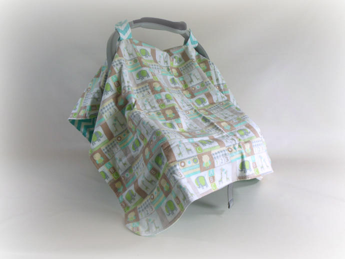 Car Seat Canopy, Car Seat Cover, Cart Cover, Play Mat, Blanket in Elephants and