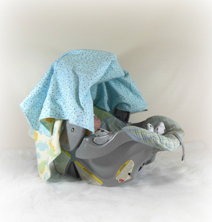 Car Seat Canopy, Cart Cover, Play Blanket in Dinosaurs and Blue Dots