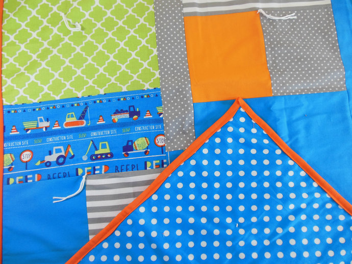 OOAK Crib Quilt, Baby Quilt, Toddler Nap Quilt, Child Lap Quilt in Blue, Green,