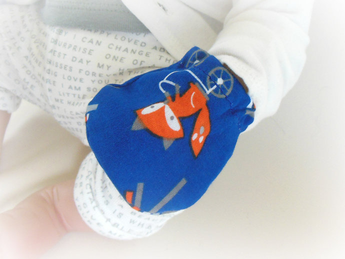 Infant Scratch Mittens, Baby Mittens, No Scratch Mittens in Foxes & Arrows