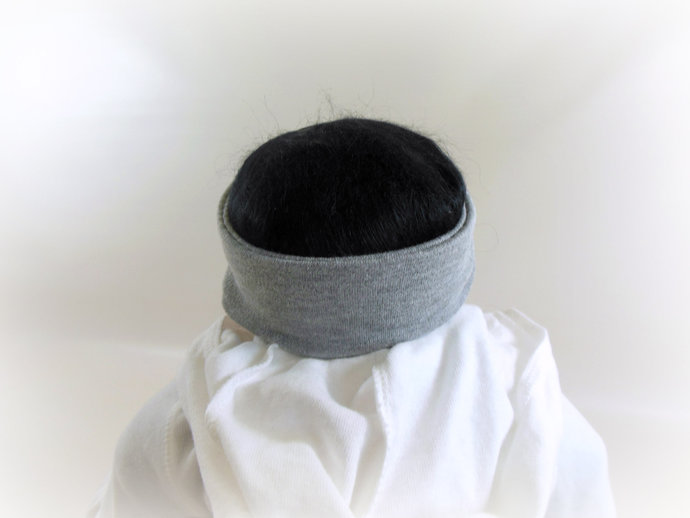 Infant Stretch Tie Knot Headband in Solid Gray