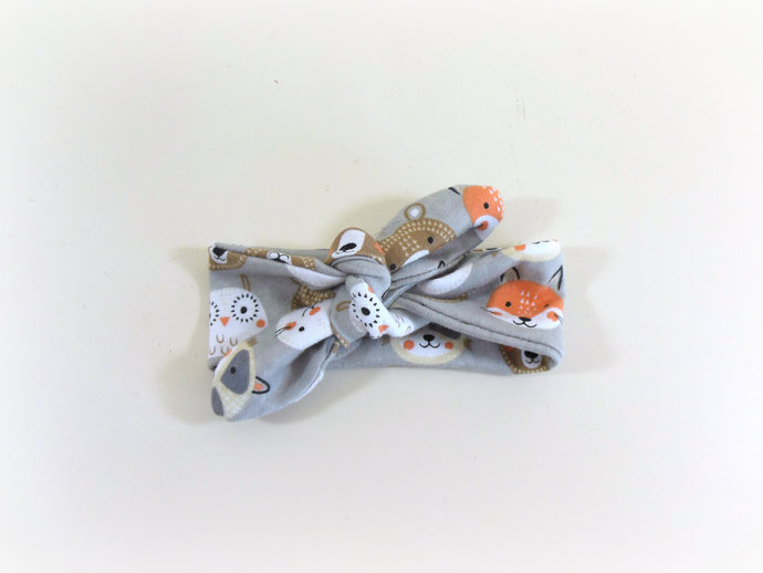 Infant Tie Knot Headband in Woodland Animals