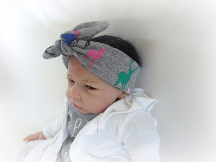 Infant Tie Knot Headband in Deer Bucks & Does