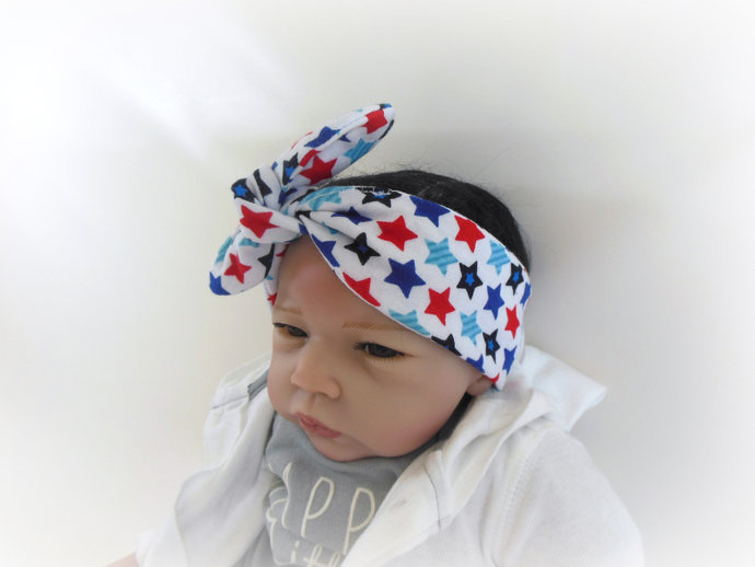 Infant Tie Knot Headband in Red White Blue Stars, Patriotic