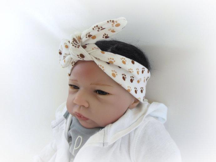Infant Stretch Tie Knot Headband in Paw Prints