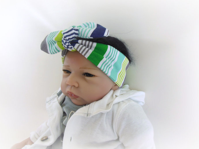 Infant Stretch Tie Knot Headband in Green and Gray Stripes
