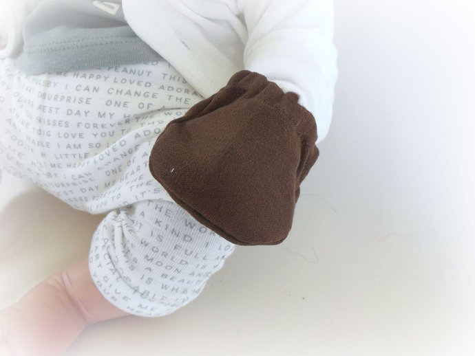 Infant Scratch Mittens, Baby Mittens, No Scratch Mittens in Brown