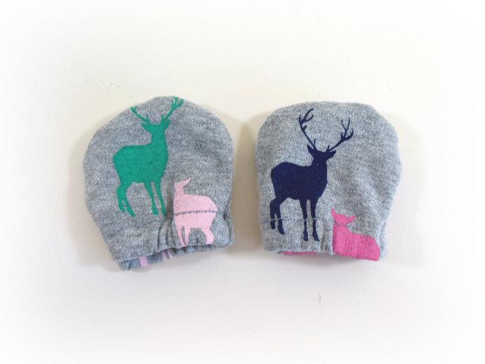 Infant Scratch Mittens, Baby Mittens, No Scratch Mittens in Deer Bucks & Does