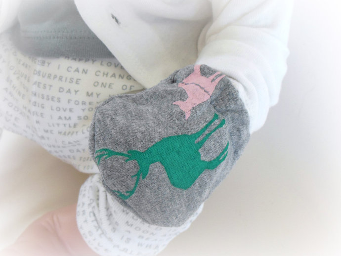 Infant Scratch Mittens, Baby Mittens, No Scratch Mittens in Deer Bucks & Does