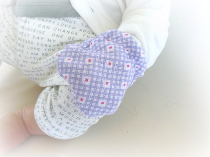 Infant Scratch Mittens, Baby Mittens, No Scratch Mittens in Purple and Pink