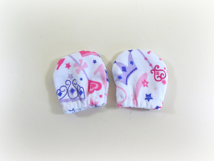 Infant Scratch Mittens, Baby Mittens, No Scratch Mittens in Princess Crowns &