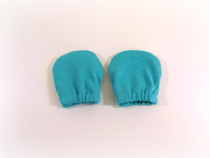 Infant Scratch Mittens, Baby Mittens, No Scratch Mittens in Solid Teal