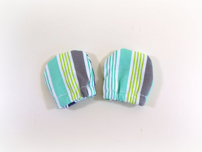 Infant Scratch Mittens, Baby Mittens, No Scratch Mittens in Green, Gray, Blue
