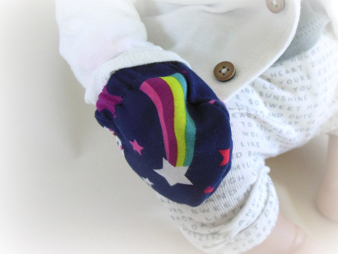 Infant Scratch Mittens, Baby Mittens, No Scratch Mittens in Unicorn and Rainbows