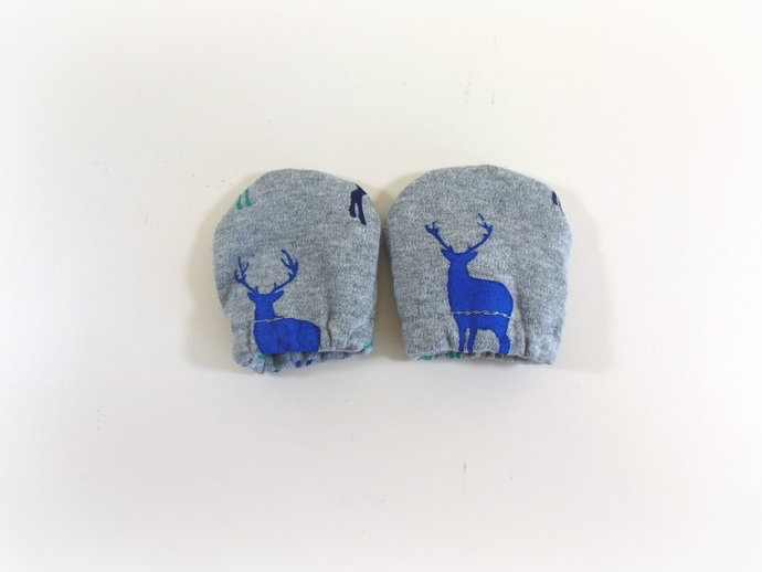 Infant Scratch Mittens, Baby Mittens, No Scratch Mittens in Blue Deer Bucks