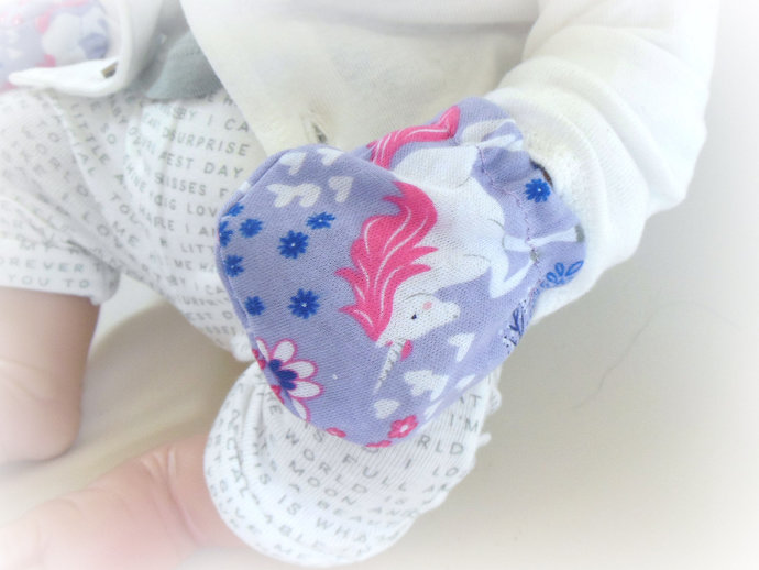 Infant Scratch Mittens, Baby Mittens, No Scratch Mittens in Purple Unicorns