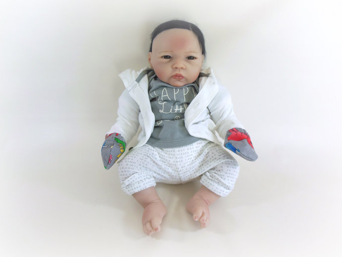Infant Scratch Mittens, Baby Mittens, No Scratch Mittens in Dinosaurs