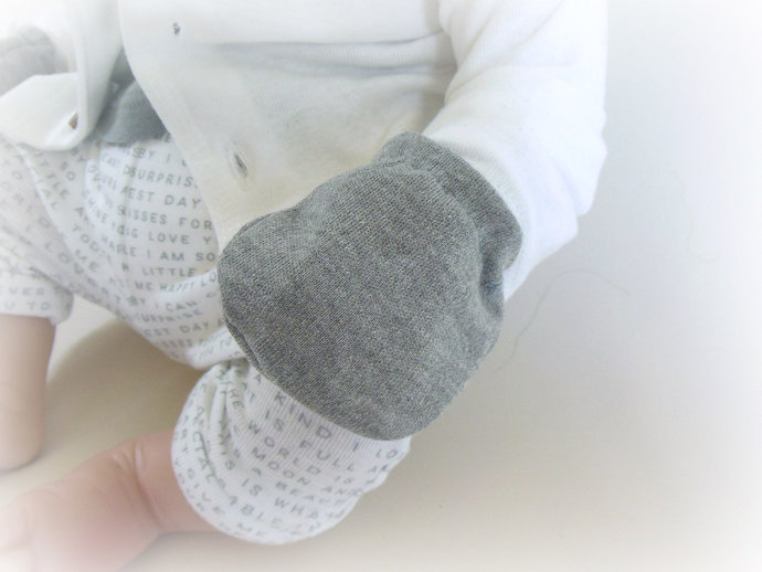 Infant Scratch Mittens, Baby Mittens, No Scratch Mittens in Solid Gray