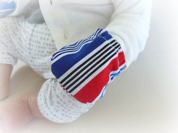 Infant Scratch Mittens, Baby Mittens, No Scratch Mittens in Blue, Red, White
