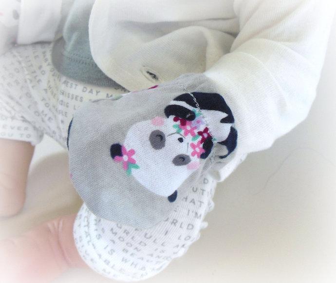 Infant Scratch Mittens, Baby Mittens, No Scratch Mittens in Pandas