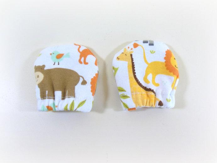 Infant Scratch Mittens, Baby Mittens, No Scratch Mittens in Safari Animals